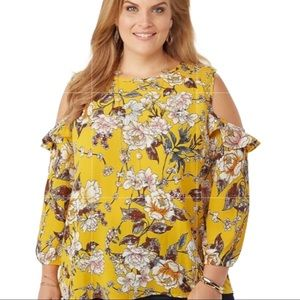 Roz & Ali | Yellow Floral Cold Shoulder Top 3X